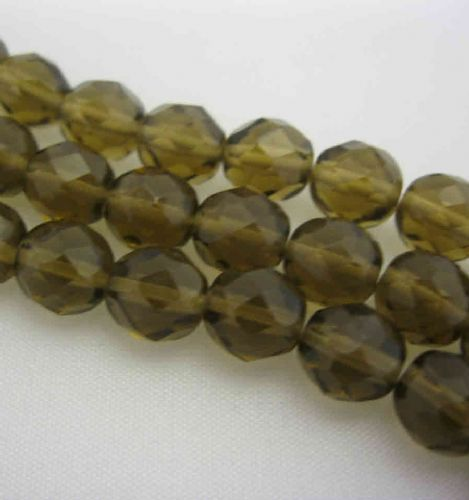 Czech Fire Polished Beads - 8mm - Smoke Topaz (25)